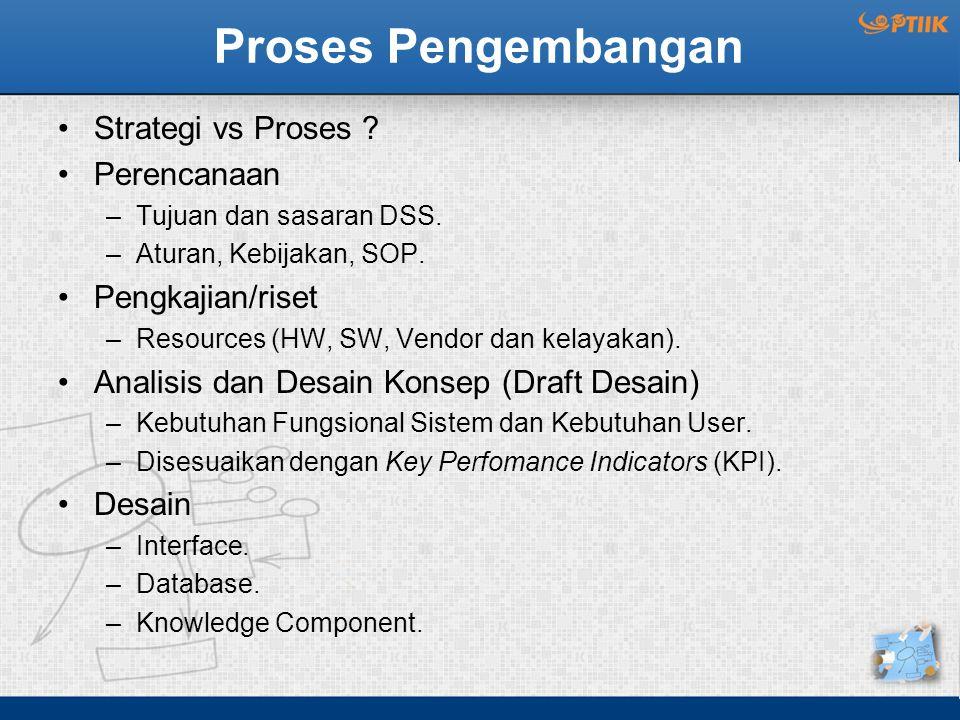 Proses Pengembangan Strategi vs Proses ? Perencanaan –Tujuan dan sasaran DSS. –Aturan, Kebijakan, SOP. Pengkajian/riset –Resources (HW, SW, Vendor dan