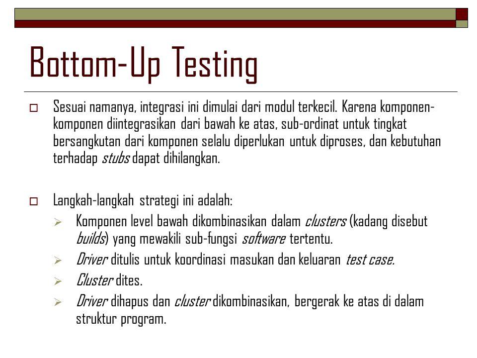 Bottom-Up Testing  Sesuai namanya, integrasi ini dimulai dari modul terkecil. Karena komponen- komponen diintegrasikan dari bawah ke atas, sub-ordina