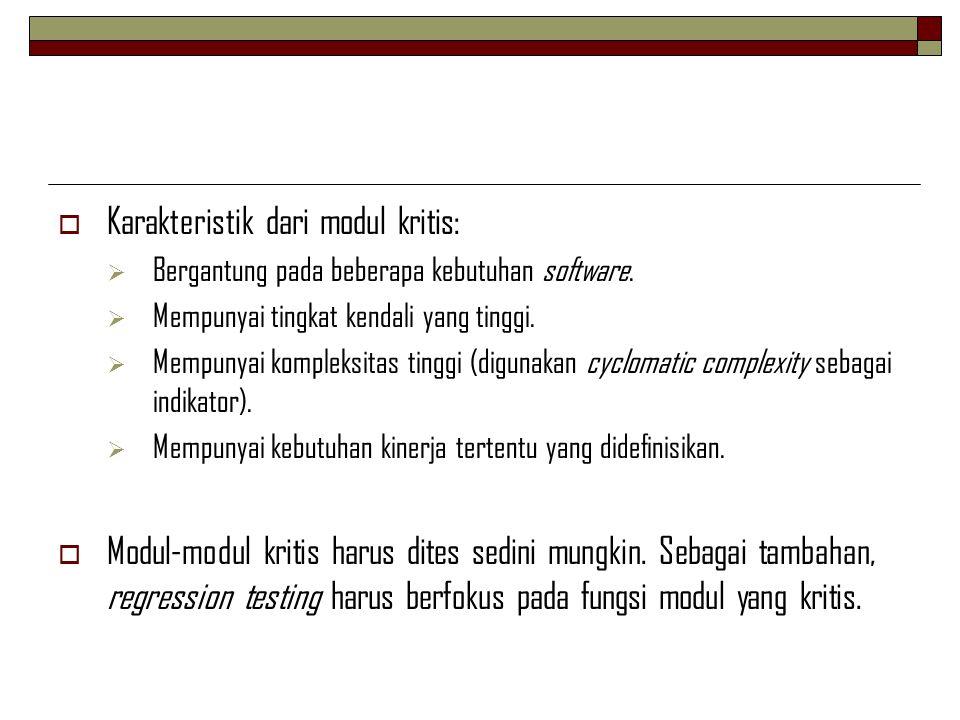  Karakteristik dari modul kritis:  Bergantung pada beberapa kebutuhan software.  Mempunyai tingkat kendali yang tinggi.  Mempunyai kompleksitas ti