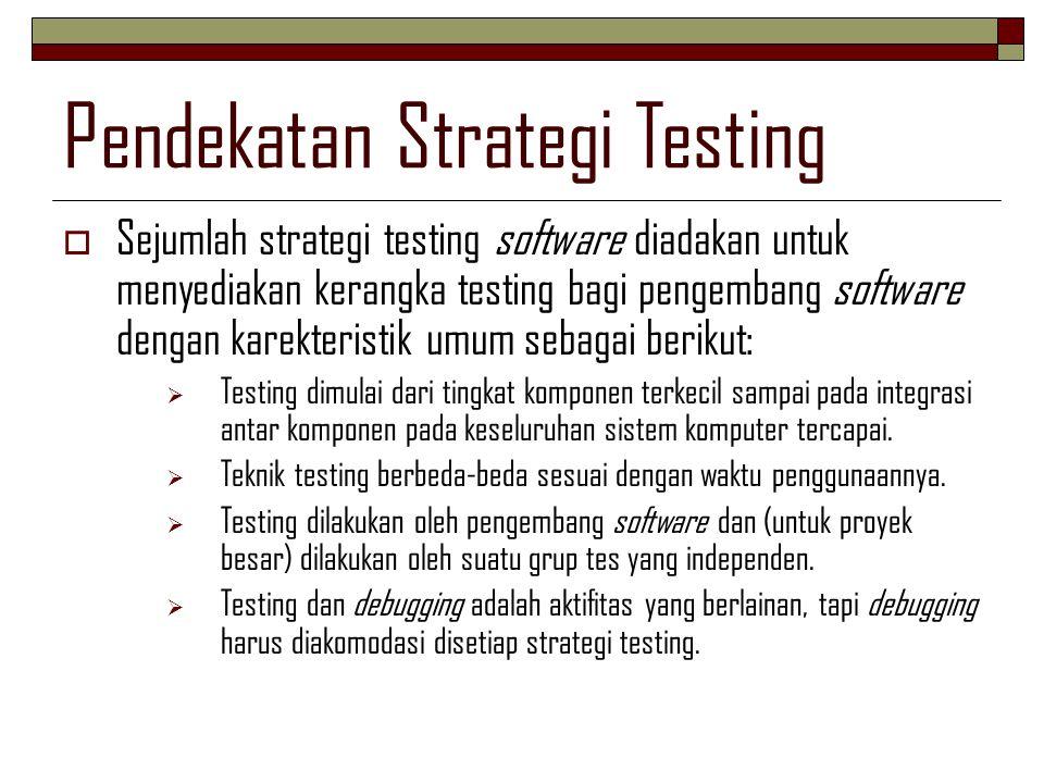 Pendekatan Strategi Testing  Sejumlah strategi testing software diadakan untuk menyediakan kerangka testing bagi pengembang software dengan karekteri