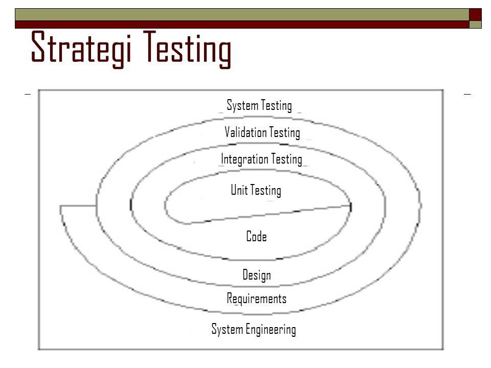 Integration Testing  Jika semua modul-modul software telah bekerja dengan baik secara individual, mengapa harus ada keraguan apakah modul-modul tersebut dapat bekerja sama sebagai satu kesatuan?  Integration testing adalah suatu teknik yang sistematis untuk pembangunan struktur program, dimana pada saat yang bersamaan melakukan testing untuk mendapatkan errors yang diasosiasikan dengan antar-muka.