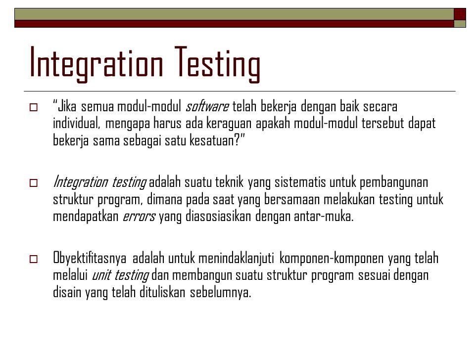 """Integration Testing  """"Jika semua modul-modul software telah bekerja dengan baik secara individual, mengapa harus ada keraguan apakah modul-modul ters"""