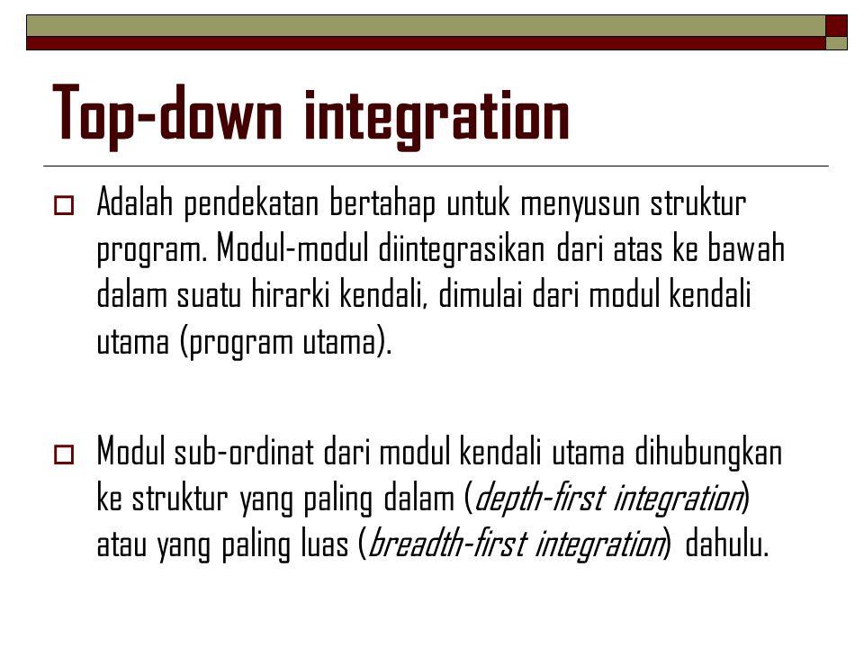 Top-down integration  Adalah pendekatan bertahap untuk menyusun struktur program. Modul-modul diintegrasikan dari atas ke bawah dalam suatu hirarki k