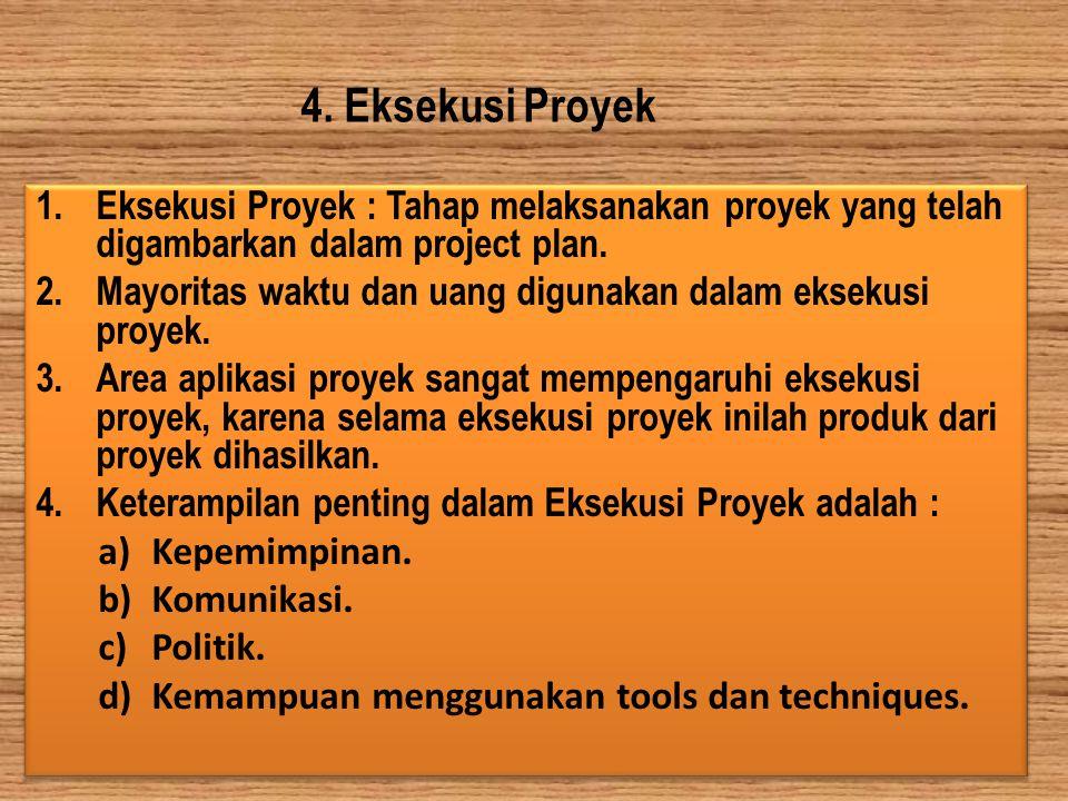 4. Eksekusi Proyek 1.Eksekusi Proyek : Tahap melaksanakan proyek yang telah digambarkan dalam project plan. 2.Mayoritas waktu dan uang digunakan dalam