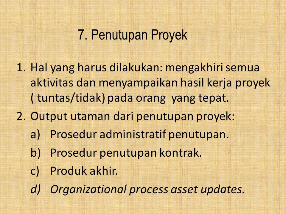 7. Penutupan Proyek 1.Hal yang harus dilakukan: mengakhiri semua aktivitas dan menyampaikan hasil kerja proyek ( tuntas/tidak) pada orang yang tepat.