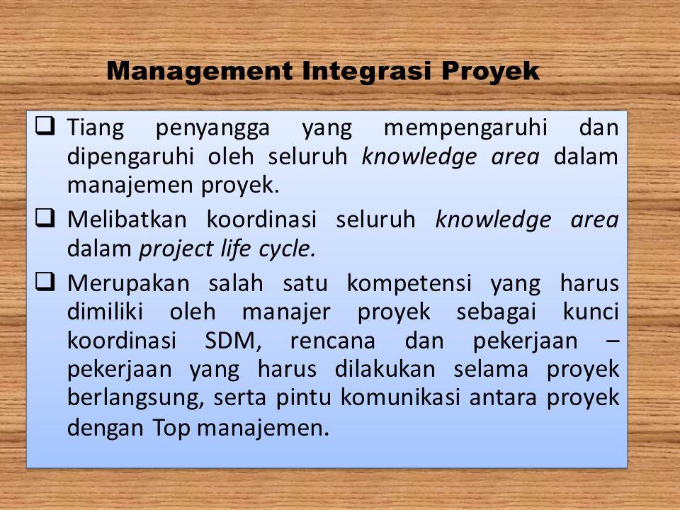 Management Integrasi Proyek  Tiang penyangga yang mempengaruhi dan dipengaruhi oleh seluruh knowledge area dalam manajemen proyek.  Melibatkan koord