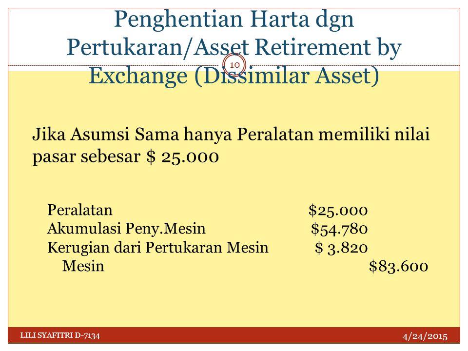 Penghentian Harta dgn Pertukaran/Asset Retirement by Exchange (Dissimilar Asset) 4/24/2015 LILI SYAFITRI D-7134 10 Jika Asumsi Sama hanya Peralatan me