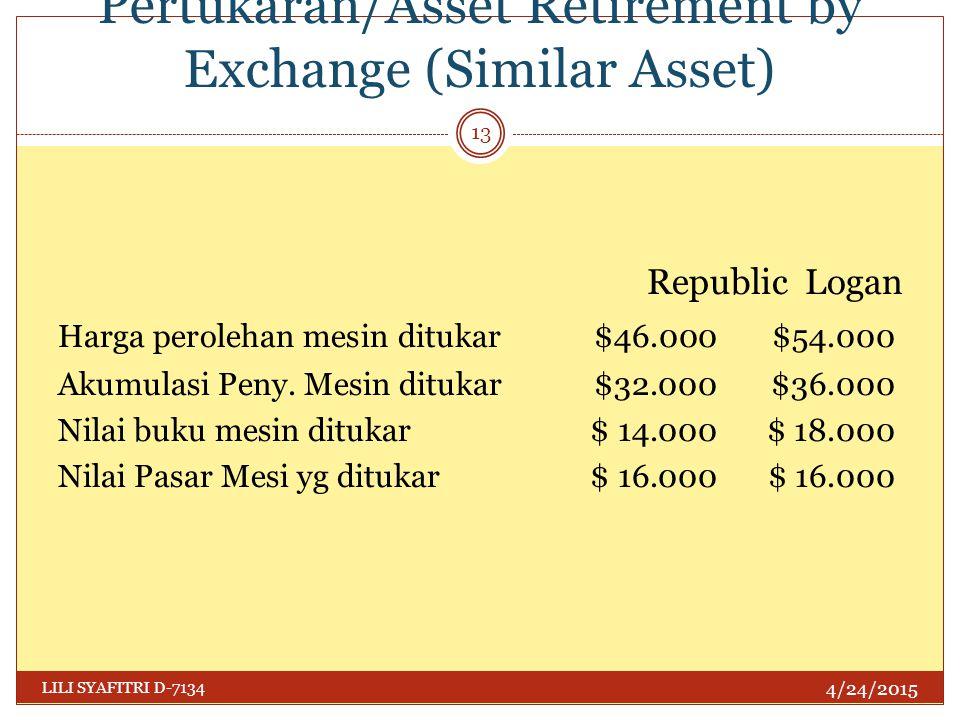 Penghentian Harta dgn Pertukaran/Asset Retirement by Exchange (Similar Asset) 4/24/2015 LILI SYAFITRI D-7134 13 Republic Logan Harga perolehan mesin d