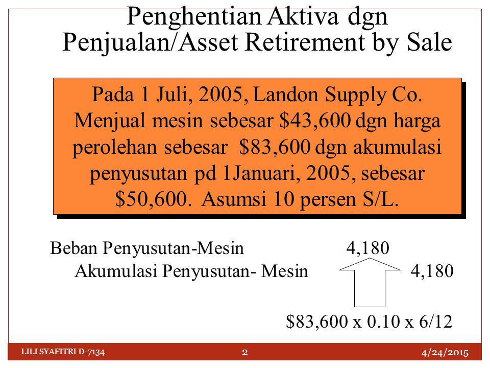 Kas 43,600 Akumulasi Penyusutan—Mesin54,780 Mesin83,600 Keuntungan Penjualan Mesin14,780 Penghentian Aktiva dgn Penjualan/Asset Retirement by Sale Pada 1 Juli, 2005, Landon Supply Co.
