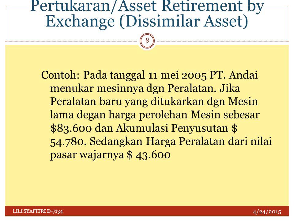 Penghentian Harta dgn Pertukaran/Asset Retirement by Exchange (Dissimilar Asset) 4/24/2015 LILI SYAFITRI D-7134 8 Contoh: Pada tanggal 11 mei 2005 PT.