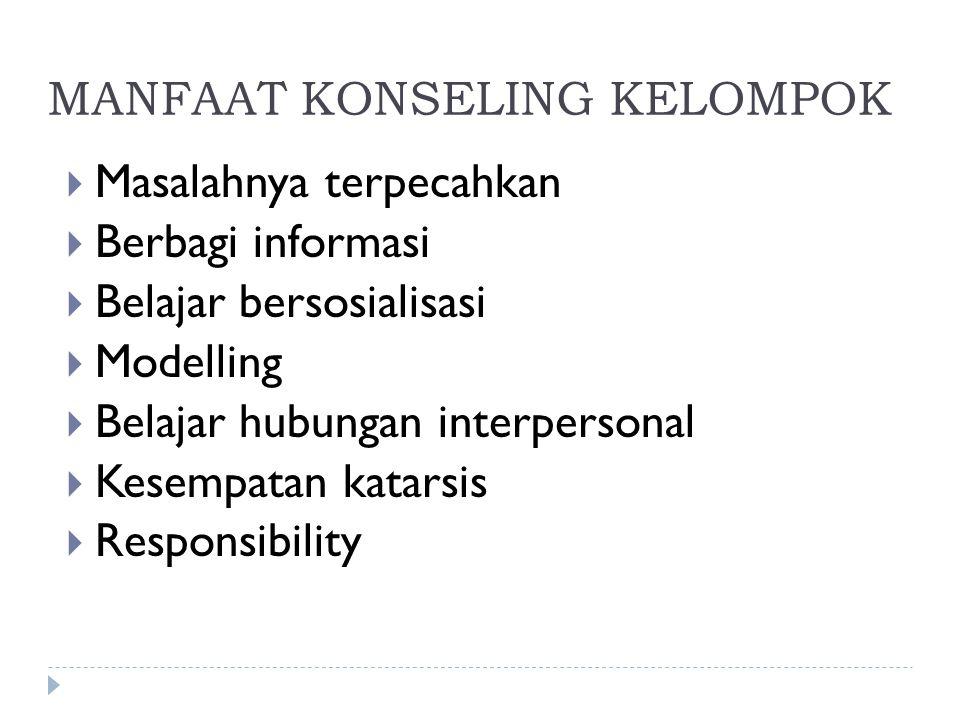MANFAAT KONSELING KELOMPOK  Masalahnya terpecahkan  Berbagi informasi  Belajar bersosialisasi  Modelling  Belajar hubungan interpersonal  Kesemp