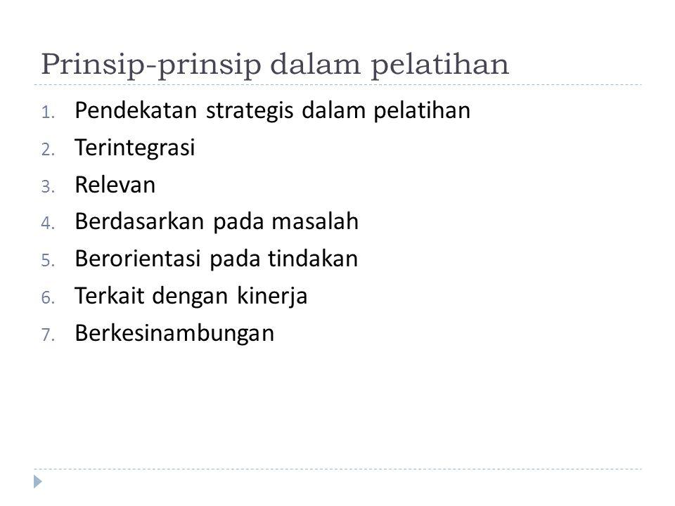 Prinsip-prinsip dalam pelatihan 1. Pendekatan strategis dalam pelatihan 2. Terintegrasi 3. Relevan 4. Berdasarkan pada masalah 5. Berorientasi pada ti