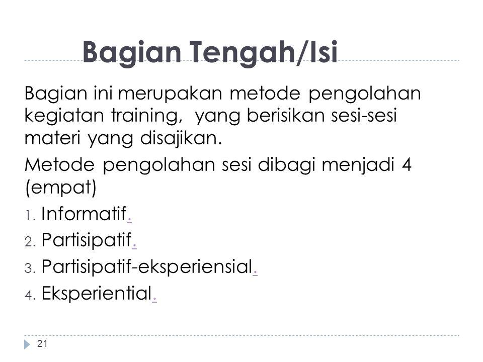 Bagian Tengah/Isi Bagian ini merupakan metode pengolahan kegiatan training, yang berisikan sesi-sesi materi yang disajikan. Metode pengolahan sesi dib
