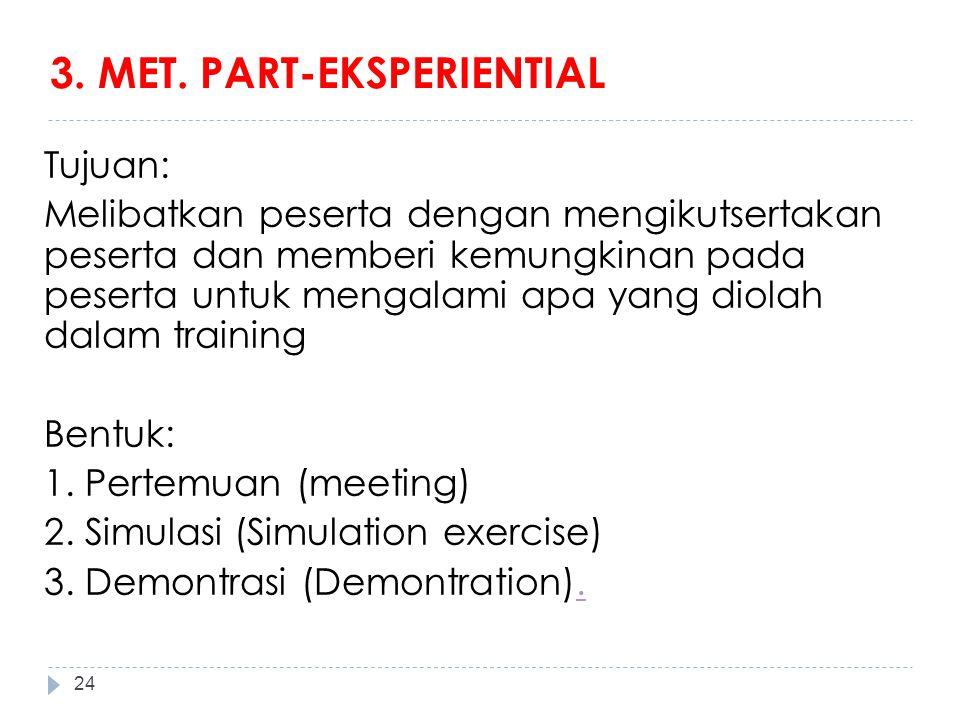3. MET. PART-EKSPERIENTIAL Tujuan: Melibatkan peserta dengan mengikutsertakan peserta dan memberi kemungkinan pada peserta untuk mengalami apa yang di