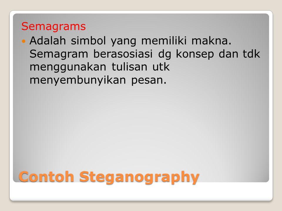 Contoh Steganography Semagrams Adalah simbol yang memiliki makna. Semagram berasosiasi dg konsep dan tdk menggunakan tulisan utk menyembunyikan pesan.