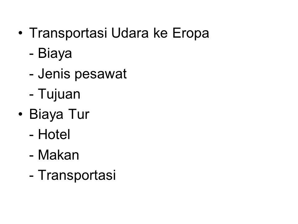 Transportasi Udara ke Eropa - Biaya - Jenis pesawat - Tujuan Biaya Tur - Hotel - Makan - Transportasi