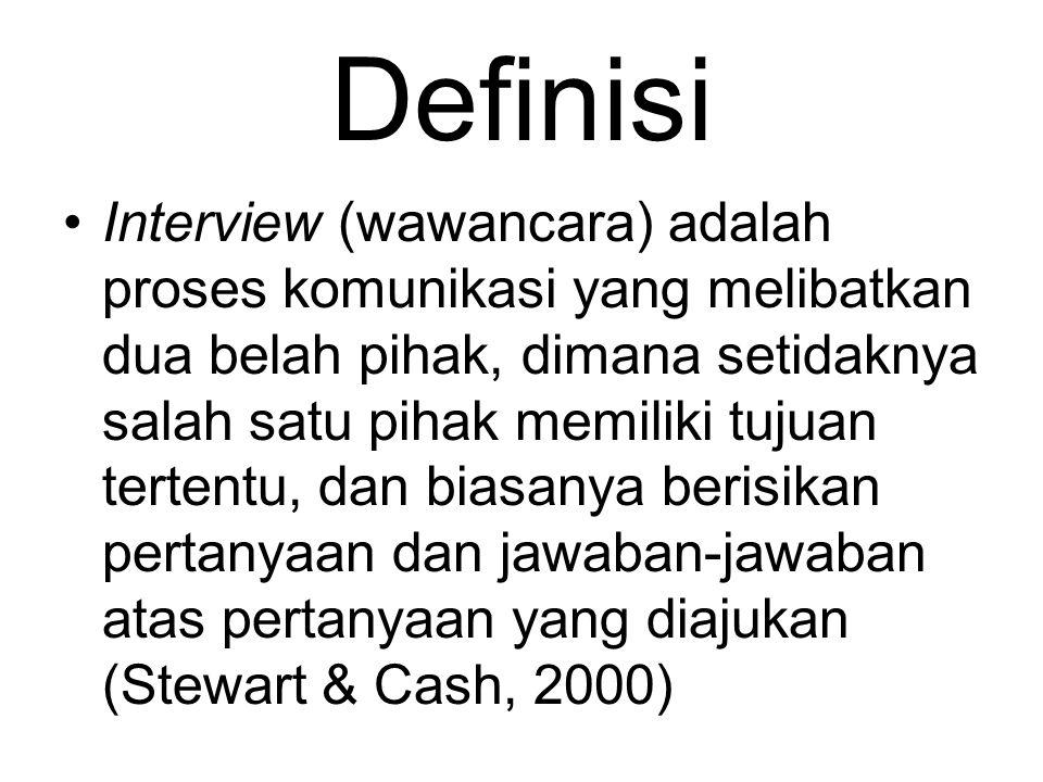 Definisi Interview (wawancara) adalah proses komunikasi yang melibatkan dua belah pihak, dimana setidaknya salah satu pihak memiliki tujuan tertentu,
