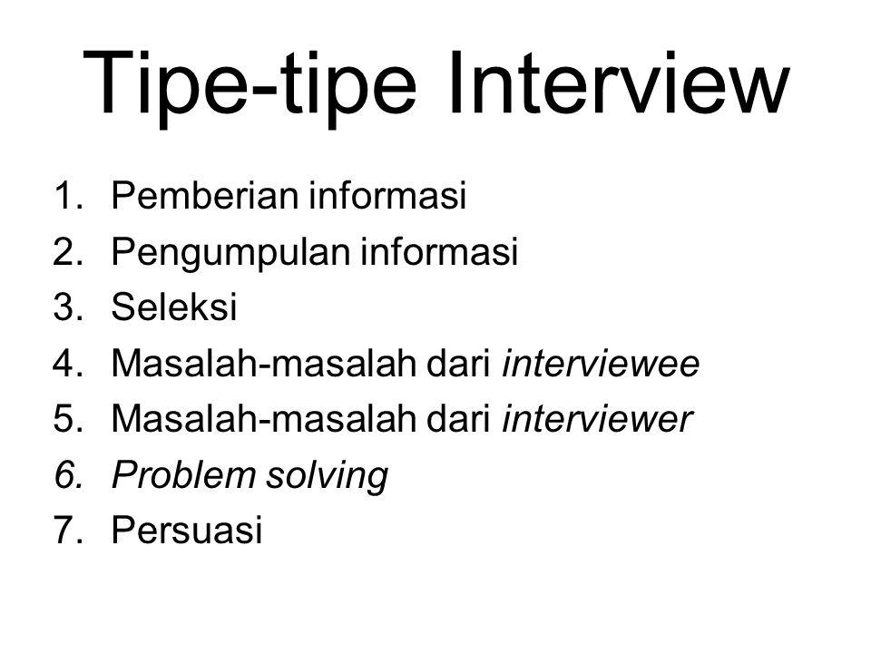 Tipe-tipe Interview 1.Pemberian informasi 2.Pengumpulan informasi 3.Seleksi 4.Masalah-masalah dari interviewee 5.Masalah-masalah dari interviewer 6.Pr