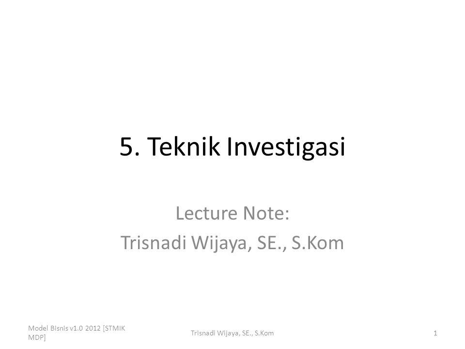5. Teknik Investigasi Lecture Note: Trisnadi Wijaya, SE., S.Kom Model Bisnis v1.0 2012 [STMIK MDP] 1Trisnadi Wijaya, SE., S.Kom
