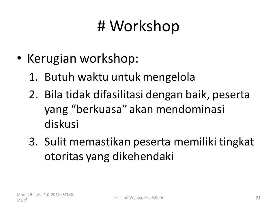 """# Workshop Kerugian workshop: 1.Butuh waktu untuk mengelola 2.Bila tidak difasilitasi dengan baik, peserta yang """"berkuasa"""" akan mendominasi diskusi 3."""