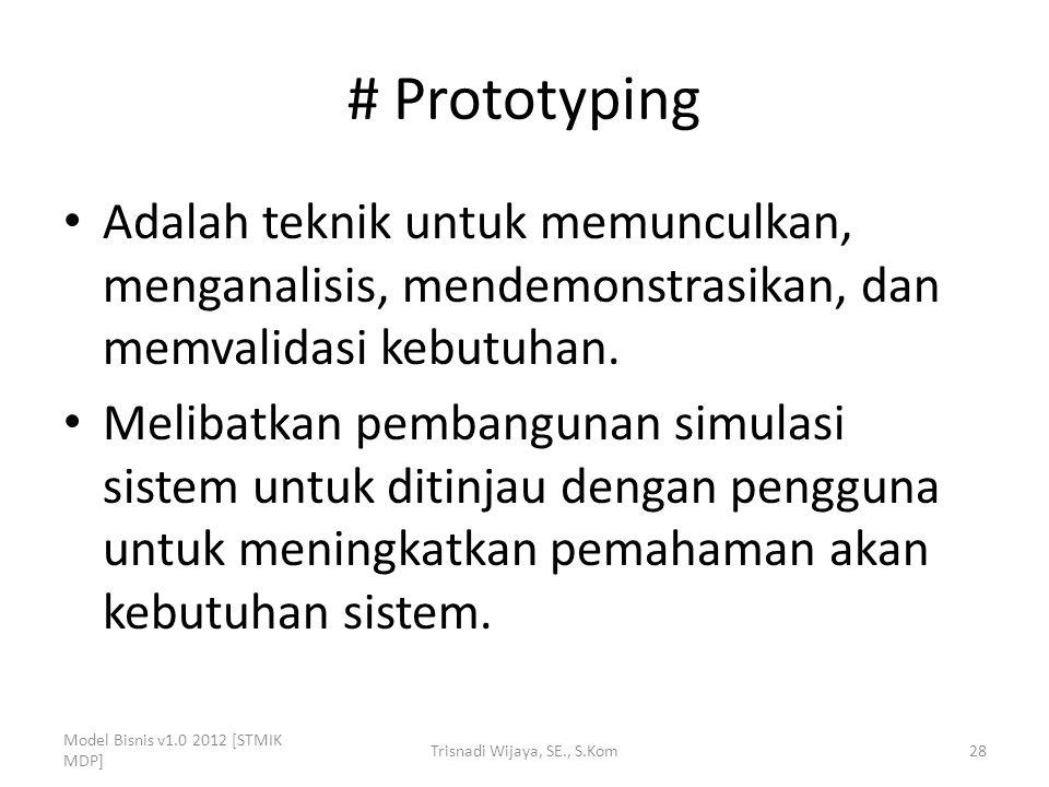 # Prototyping Adalah teknik untuk memunculkan, menganalisis, mendemonstrasikan, dan memvalidasi kebutuhan. Melibatkan pembangunan simulasi sistem untu