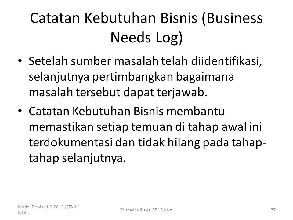 Catatan Kebutuhan Bisnis (Business Needs Log) Setelah sumber masalah telah diidentifikasi, selanjutnya pertimbangkan bagaimana masalah tersebut dapat