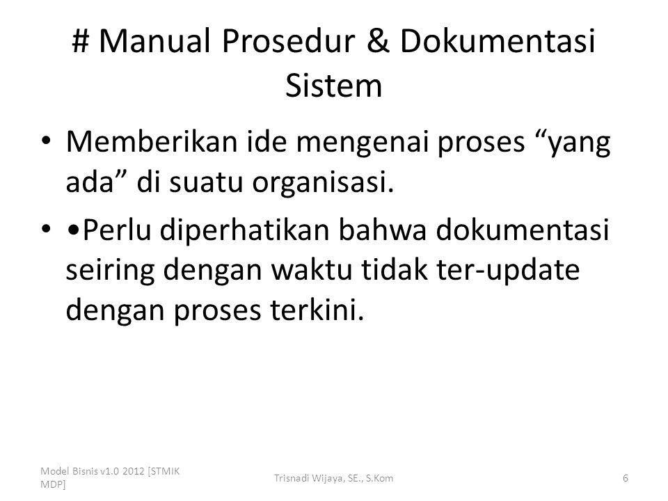 """# Manual Prosedur & Dokumentasi Sistem Memberikan ide mengenai proses """"yang ada"""" di suatu organisasi. Perlu diperhatikan bahwa dokumentasi seiring den"""