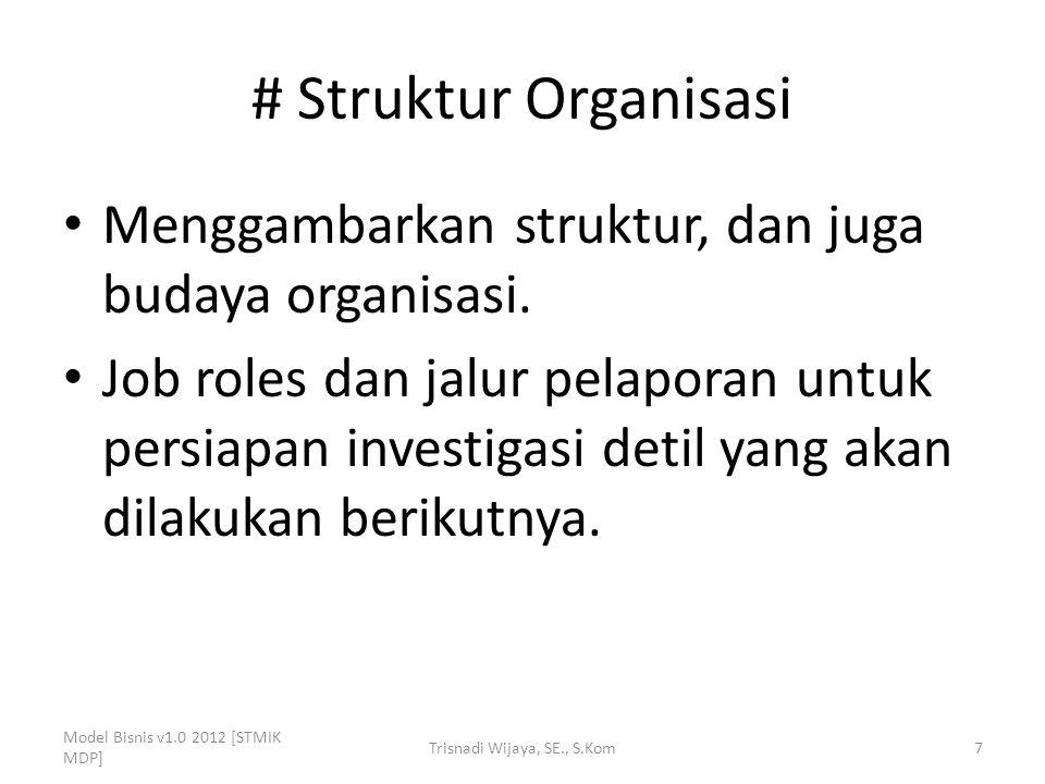 # Struktur Organisasi Menggambarkan struktur, dan juga budaya organisasi. Job roles dan jalur pelaporan untuk persiapan investigasi detil yang akan di