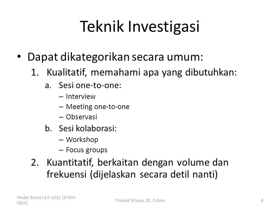 Teknik Investigasi Dapat dikategorikan secara umum: 1.Kualitatif, memahami apa yang dibutuhkan: a.Sesi one-to-one: – Interview – Meeting one-to-one –