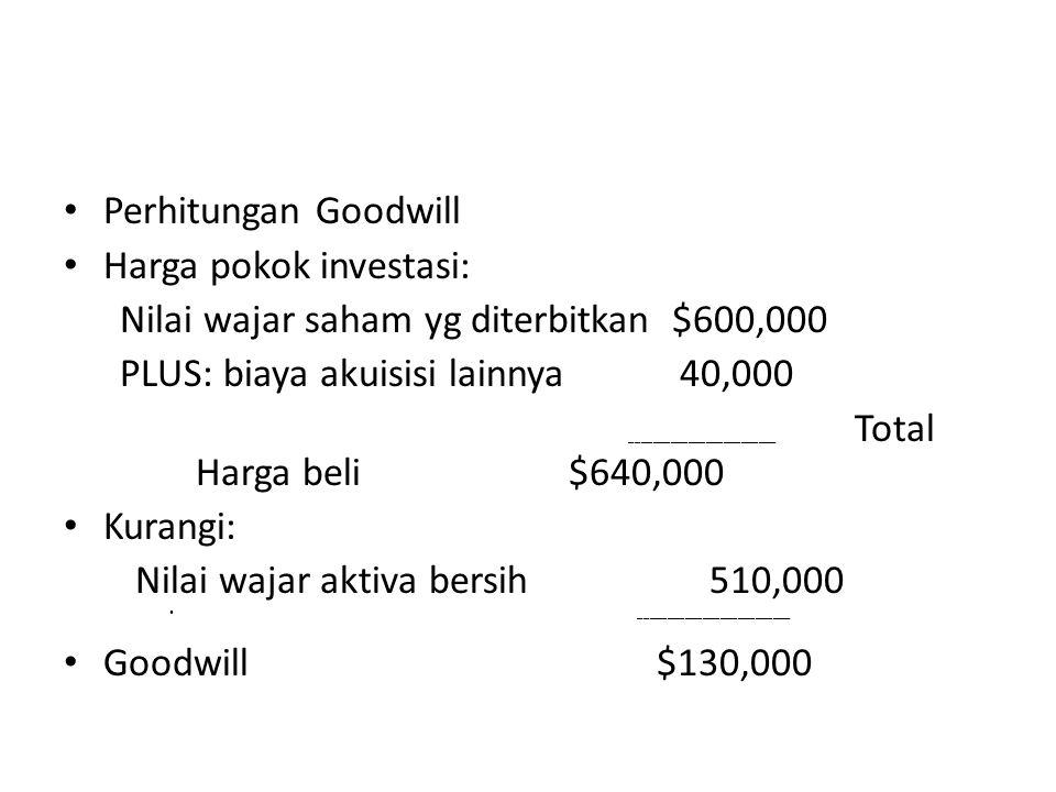 Mencatat pembelian sharp Kas dan Piutang $45,000 # Persediaan 75,000 # Tanah bangunan dan peralatan 420,000 # Patent 80,000 # Goodwill 130,000 * Kewaj