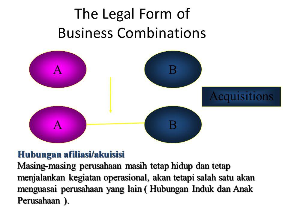 The Legal Form of Business Combinations AB Hubungan afiliasi/akuisisi Masing-masing perusahaan masih tetap hidup dan tetap menjalankan kegiatan operasional, akan tetapi salah satu akan menguasai perusahaan yang lain ( Hubungan Induk dan Anak Perusahaan ).
