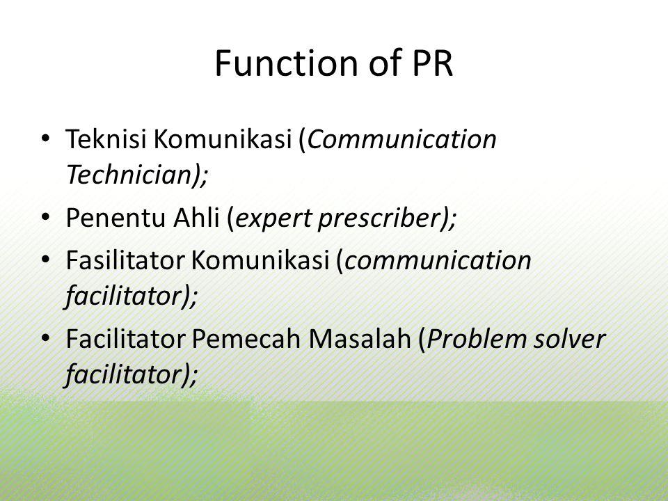 Function of PR Teknisi Komunikasi (Communication Technician); Penentu Ahli (expert prescriber); Fasilitator Komunikasi (communication facilitator); Fa