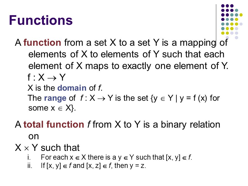 Functions A function from a set X to a set Y is a mapping of elements of X to elements of Y such that each element of X maps to exactly one element of Y.