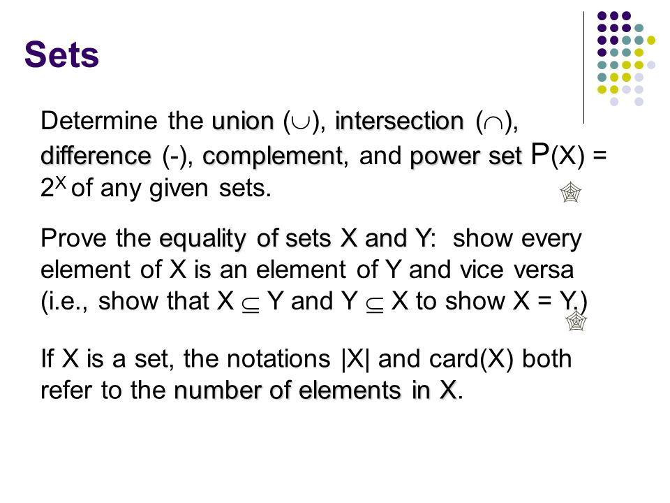 Sets number of elements in X If X is a set, the notations |X| and card(X) both refer to the number of elements in X.