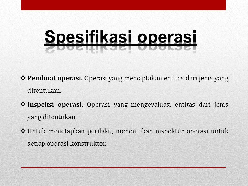  Pembuat operasi. Operasi yang menciptakan entitas dari jenis yang ditentukan.