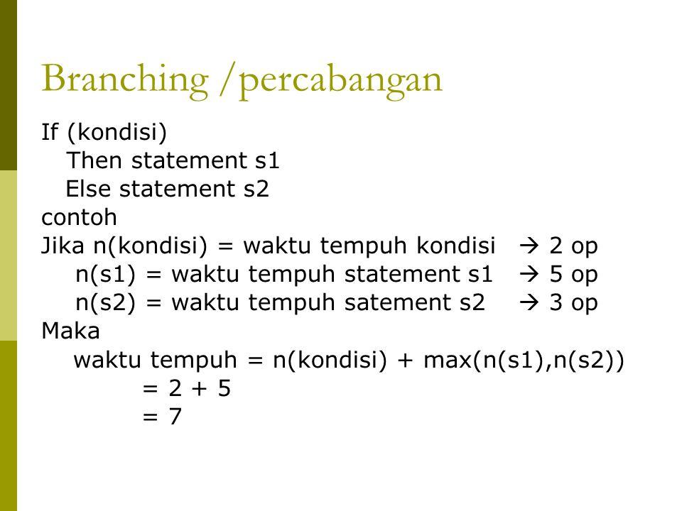 Branching /percabangan If (kondisi) Then statement s1 Else statement s2 contoh Jika n(kondisi) = waktu tempuh kondisi  2 op n(s1) = waktu tempuh statement s1  5 op n(s2) = waktu tempuh satement s2  3 op Maka waktu tempuh = n(kondisi) + max(n(s1),n(s2)) = 2 + 5 = 7