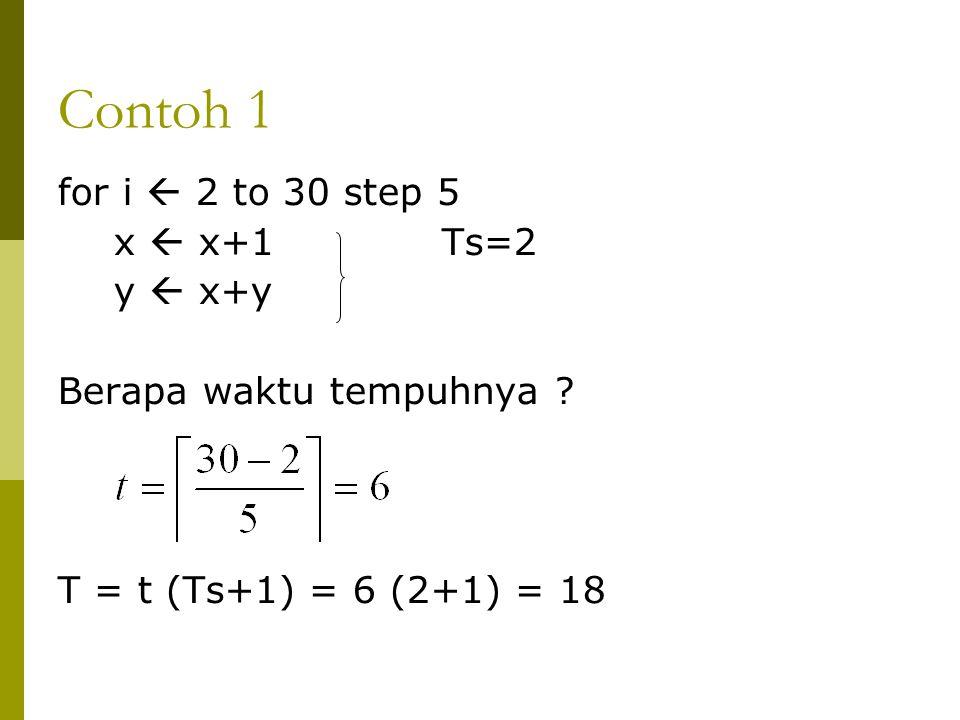 Contoh 1 for i  2 to 30 step 5 x  x+1Ts=2 y  x+y Berapa waktu tempuhnya ? T = t (Ts+1) = 6 (2+1) = 18