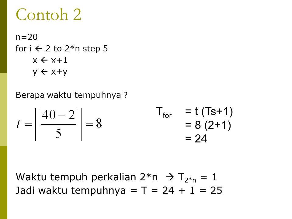 Contoh 2 n=20 for i  2 to 2*n step 5 x  x+1 y  x+y Berapa waktu tempuhnya ? Waktu tempuh perkalian 2*n  T 2*n = 1 Jadi waktu tempuhnya = T = 24 +