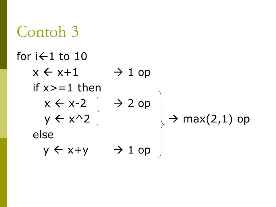 Contoh 3 for i  1 to 10 x  x+1  1 op if x>=1 then x  x-2  2 op y  x^2  max(2,1) op else y  x+y  1 op