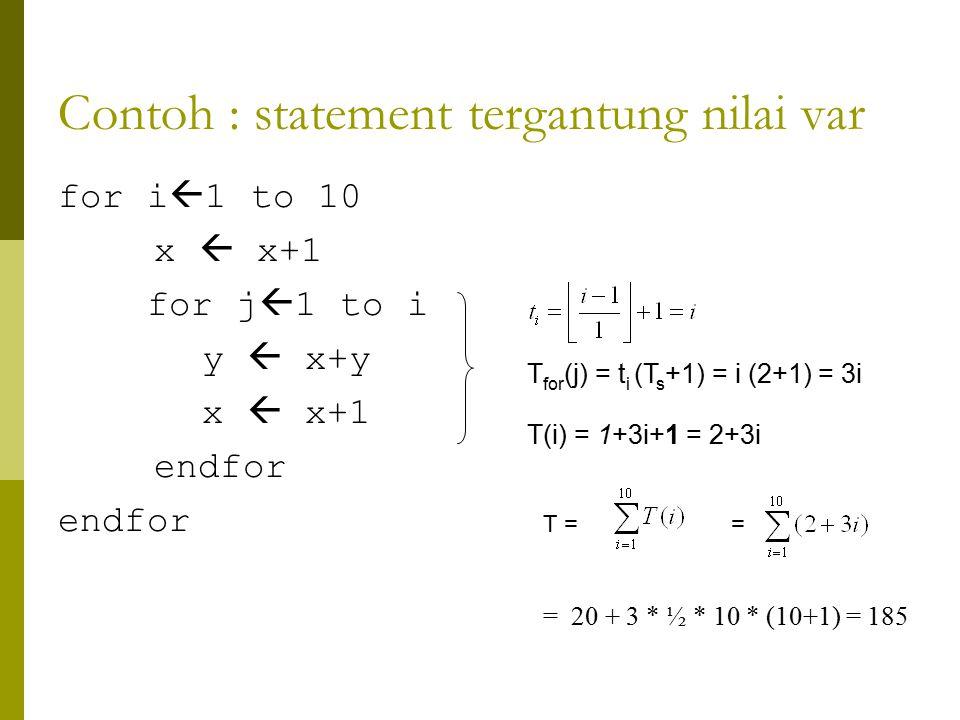 Contoh : statement tergantung nilai var for i  1 to 10 x  x+1 for j  1 to i y  x+y x  x+1 endfor T for (j) = t i (T s +1) = i (2+1) = 3i T(i) = 1+3i+1 = 2+3i T = = = 20 + 3 * ½ * 10 * (10+1) = 185