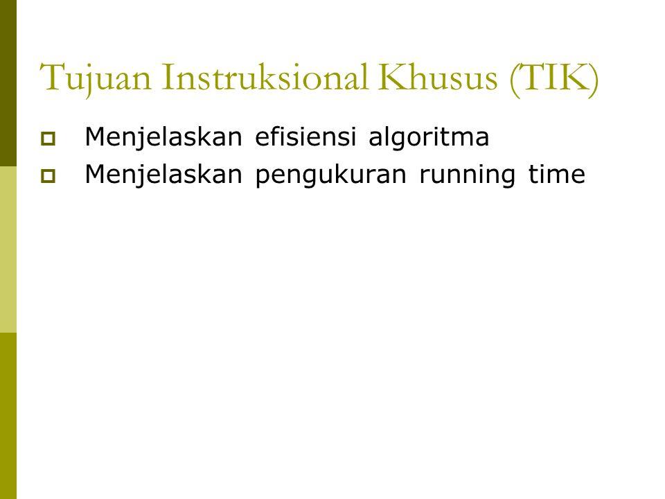 Latihan : T(n) = ? for i  1 to 2n x  x+1 for j  1 to i+1 y  x+y x  x+1 endfor Endfor