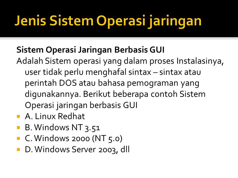 Sistem Operasi Jaringan Berbasis GUI Adalah Sistem operasi yang dalam proses Instalasinya, user tidak perlu menghafal sintax – sintax atau perintah DOS atau bahasa pemograman yang digunakannya.