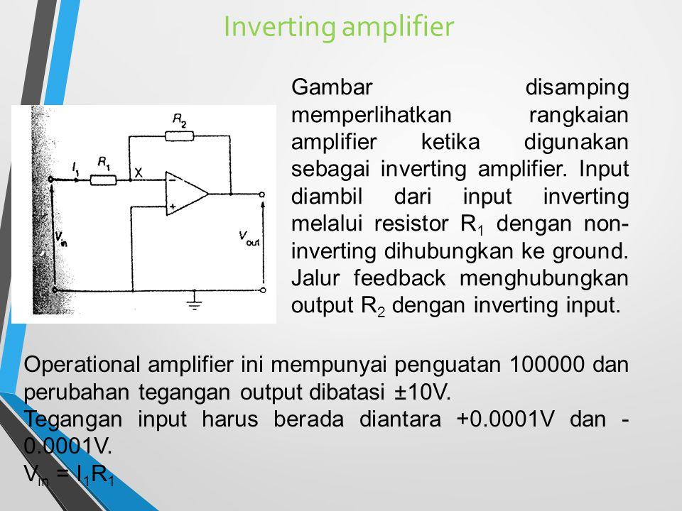 Inverting amplifier Gambar disamping memperlihatkan rangkaian amplifier ketika digunakan sebagai inverting amplifier. Input diambil dari input inverti