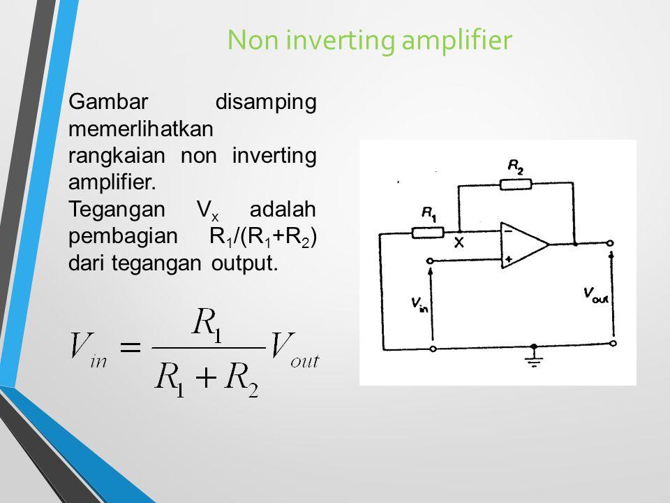 Non inverting amplifier Gambar disamping memerlihatkan rangkaian non inverting amplifier. Tegangan V x adalah pembagian R 1 /(R 1 +R 2 ) dari tegangan