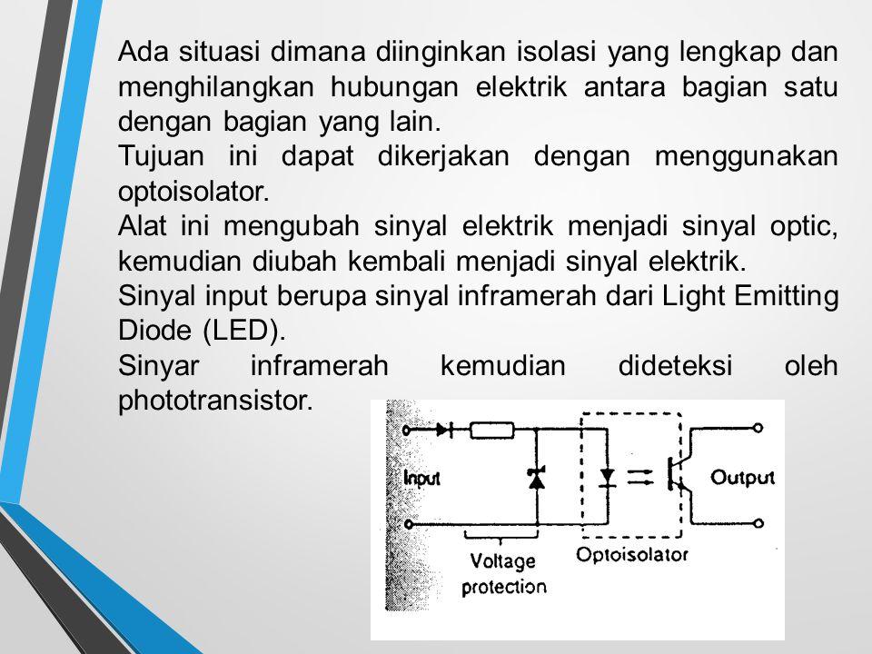 Ada situasi dimana diinginkan isolasi yang lengkap dan menghilangkan hubungan elektrik antara bagian satu dengan bagian yang lain. Tujuan ini dapat di