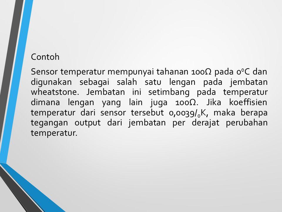 Contoh Sensor temperatur mempunyai tahanan 100Ω pada 0 0 C dan digunakan sebagai salah satu lengan pada jembatan wheatstone. Jembatan ini setimbang pa