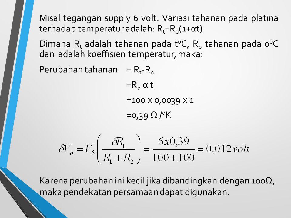 Misal tegangan supply 6 volt. Variasi tahanan pada platina terhadap temperatur adalah: R t =R 0 (1+αt) Dimana R t adalah tahanan pada t 0 C, R 0 tahan