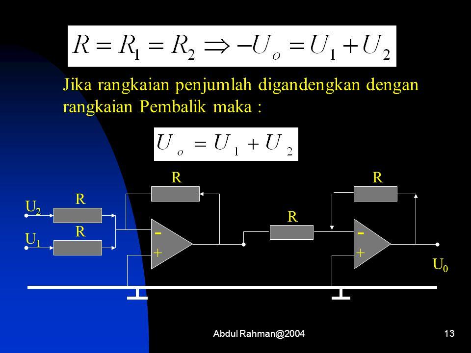 Abdul Rahman@200413 Jika rangkaian penjumlah digandengkan dengan rangkaian Pembalik maka : - + R R U2U2 U1U1 R - + R U0U0 R