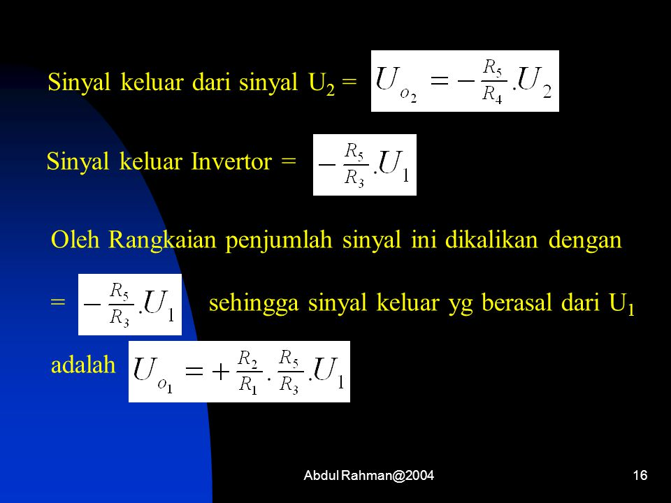Abdul Rahman@200416 Sinyal keluar dari sinyal U 2 = Sinyal keluar Invertor = Oleh Rangkaian penjumlah sinyal ini dikalikan dengan = sehingga sinyal keluar yg berasal dari U 1 adalah
