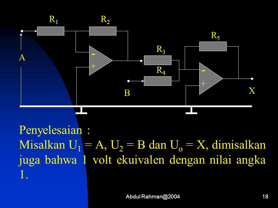 Abdul Rahman@200418 Penyelesaian : Misalkan U 1 = A, U 2 = B dan U o = X, dimisalkan juga bahwa 1 volt ekuivalen dengan nilai angka 1. - + R1R1 R2R2 A